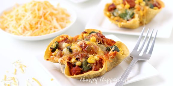Chicken Enchiladas in Corn Tortilla Bowls topped with Sargento Mexican Cheese, Poblano Peppers, and Corn