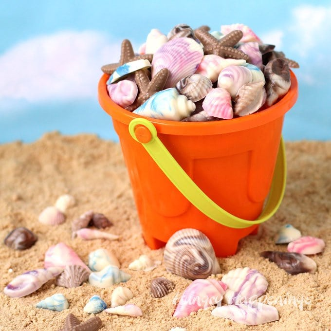 Swirl colorful chocolate to create beautiful Chocolate Sea Shells.