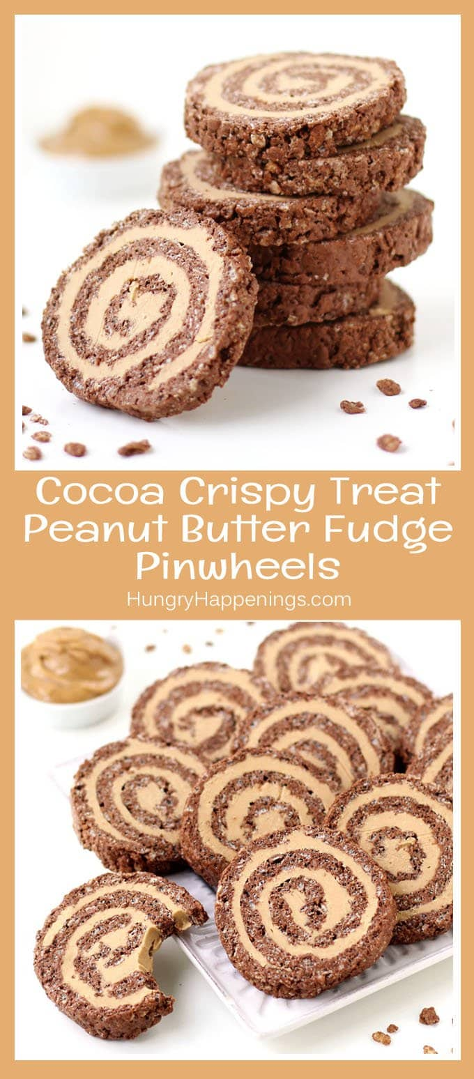 Transform chocolate peanut butter rice crispy treats into these festive Cocoa Crispy Treat Peanut Butter Fudge Pinwheels. Each chocolate cereal treat is flattened and rolled around lusciously creamy peanut butter fudge making a pretty swirled pattern when cut.