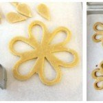 Use a tear drop cutter to cut out inner petals from a daisy cookie cutter to make Linzer Cookie Daisies.