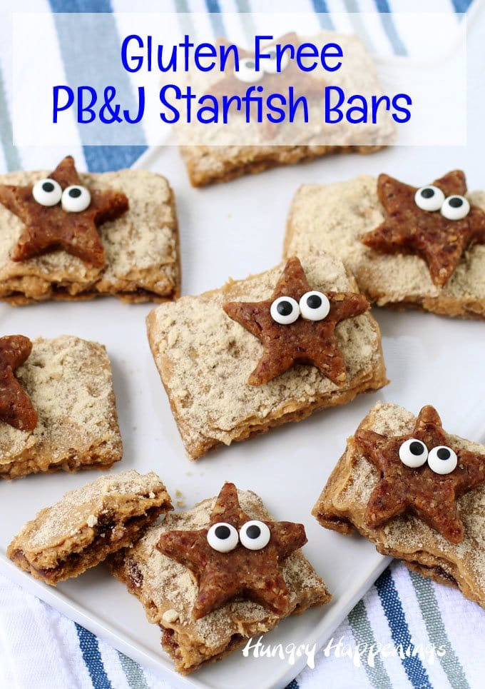 Gluten Free Beach Themed Party Treats. Starfish power bites on PB&J beaches.