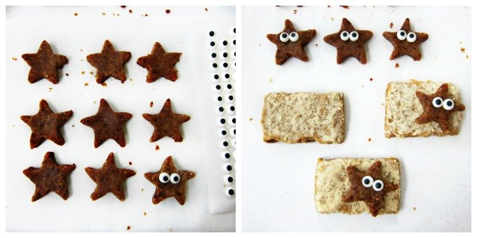 Gluten free peanut butter and jelly starfish beach bars.