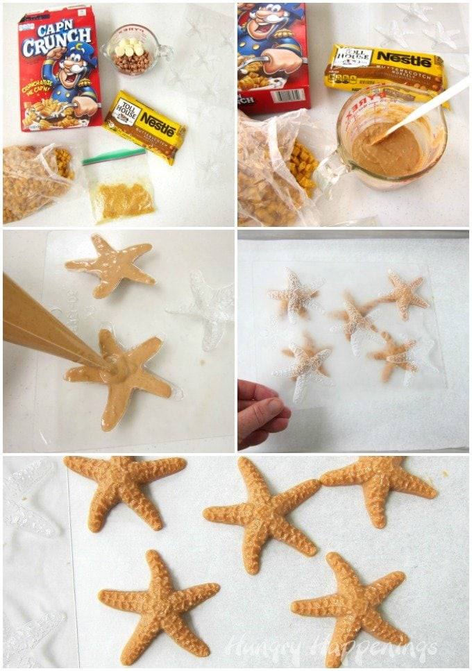 How to make butterscotch crunch starfish using butterscotch chips and Cap 'n Crunch cereal.