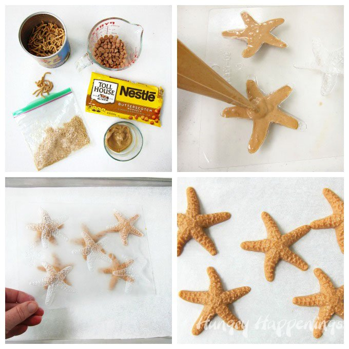 How to make butterscotch haystacks in starfish shapes for a beach party.