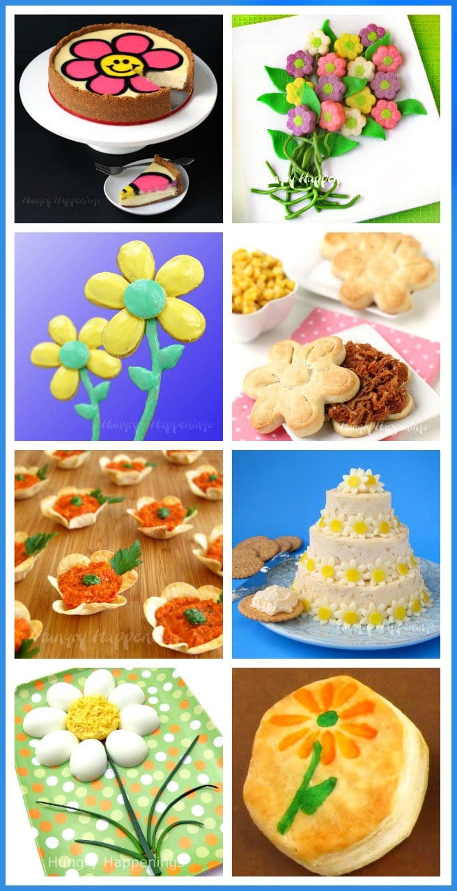 Pretty daisy themed food crafts are wonderful to serve for Mother's Day, a wedding shower, an afternoon tea, or a spring birthday party.