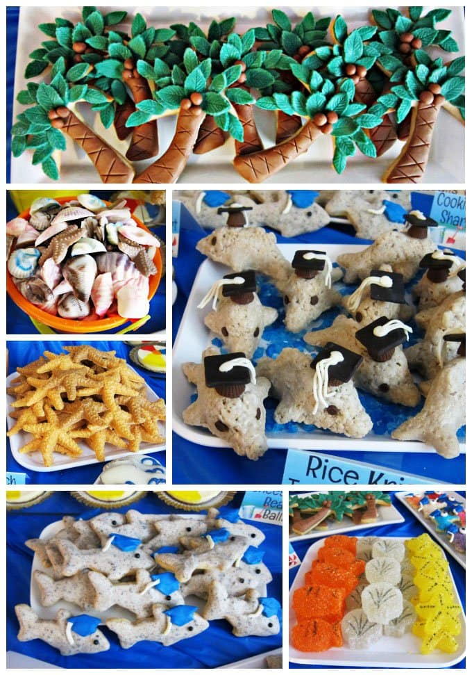 Fun pool party food ideas including palm tree cookies, chocolate shells, rice krispie treat dolphins, and more.