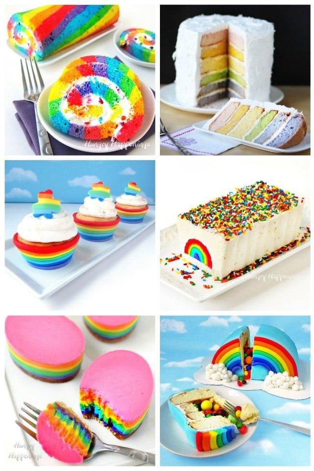 Rainbow Desserts - Rainbow Cake Roll, Rainbow Layer Cake, Rainbow Cupcakes, Rainbow Ice Cream Cake, Cheesecake Easter Eggs, Rainbow Pinata Cake