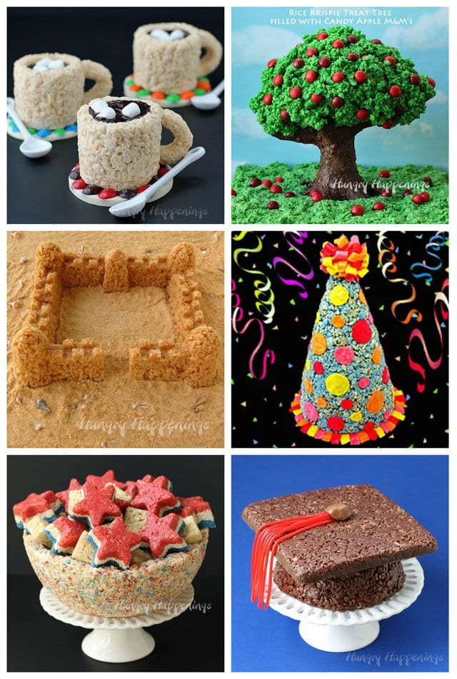 Transform ordinary rice krispie treats into extraordinary desserts. See how to make cups, trees, castles, party hats, bowls, and caps at HungryHappenings.com.