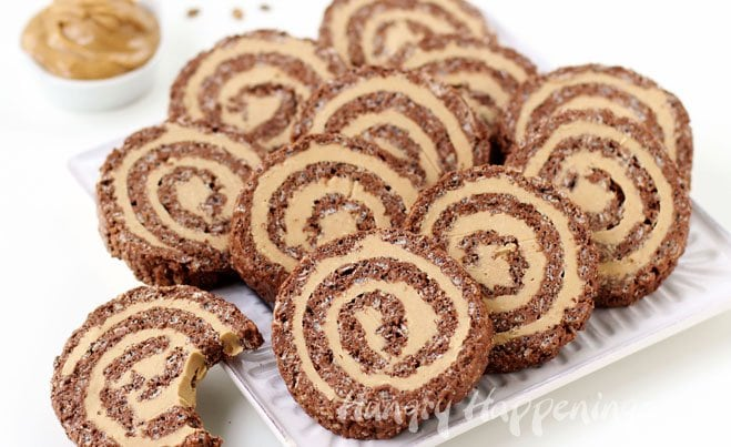 Cocoa Crispy Treat Peanut Butter Fudge Pinwheels