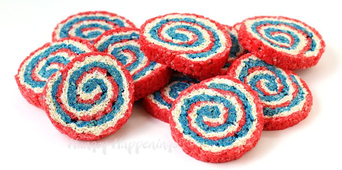 Celebrate the 4th of July, Memorial Day, Veterans Day, or Labor Day with these festive Red, White and Blue Rice Krispie Treat Pinwheels.
