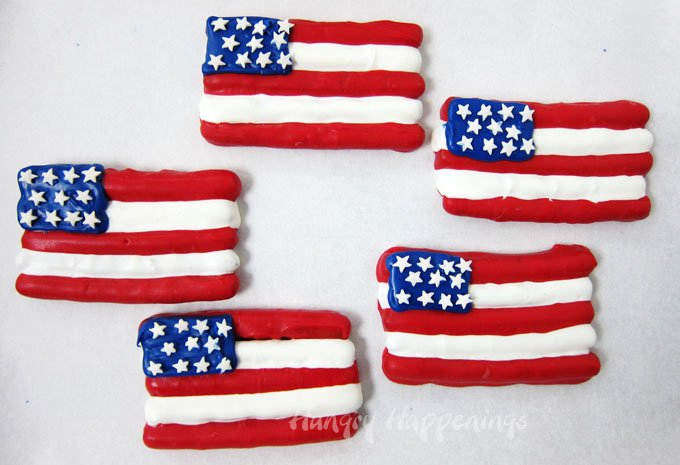 Chocolate American Flag Pretzels