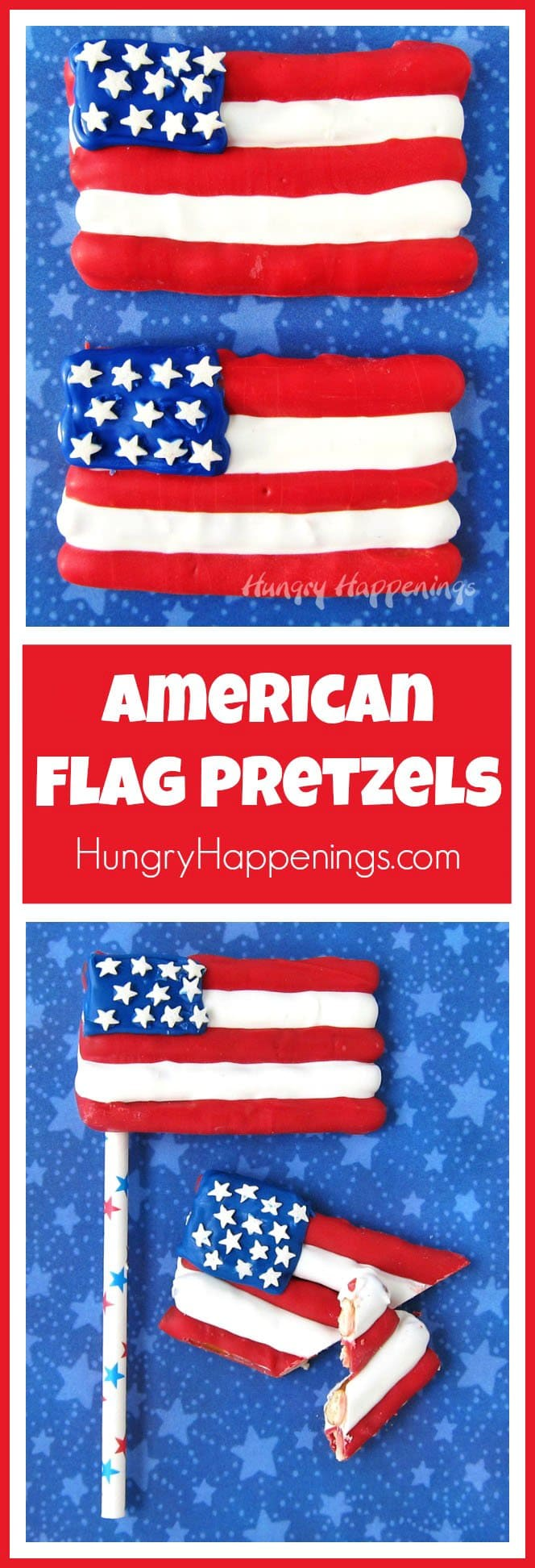 This 4th of July wave American Flag Pretzels at your party. These sweet and salty treats will be fun for the whole family.