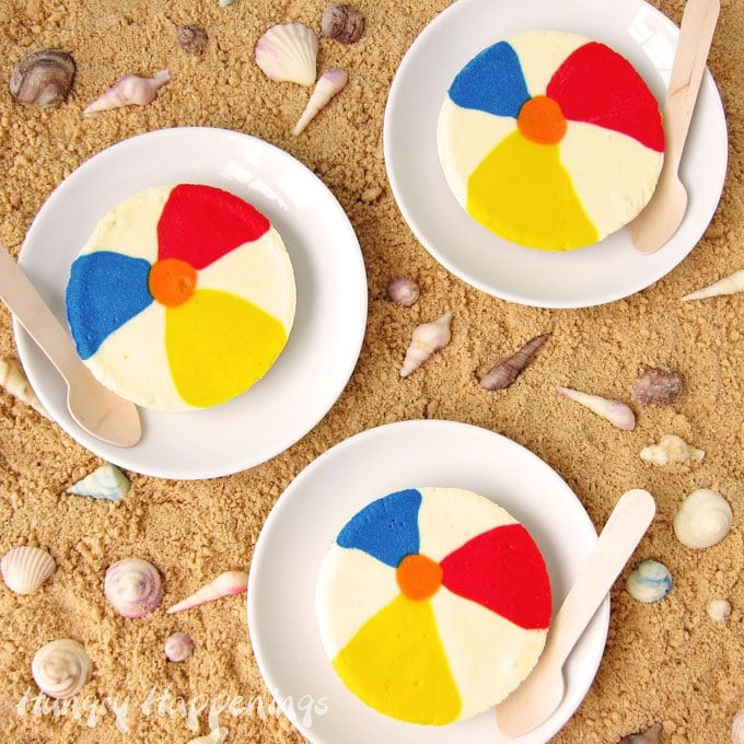 This summer create some fun in your kitchen by decorating Cheesecake Beach Balls for your pool party.