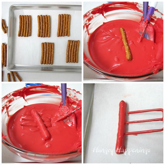 Dip pretzels in red candy melts to make the stripes in American Flag pretzels.