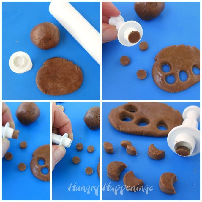 Use a medium round plunger cutter to cut the modeling chocolate ears for the sea otter cupcakes.