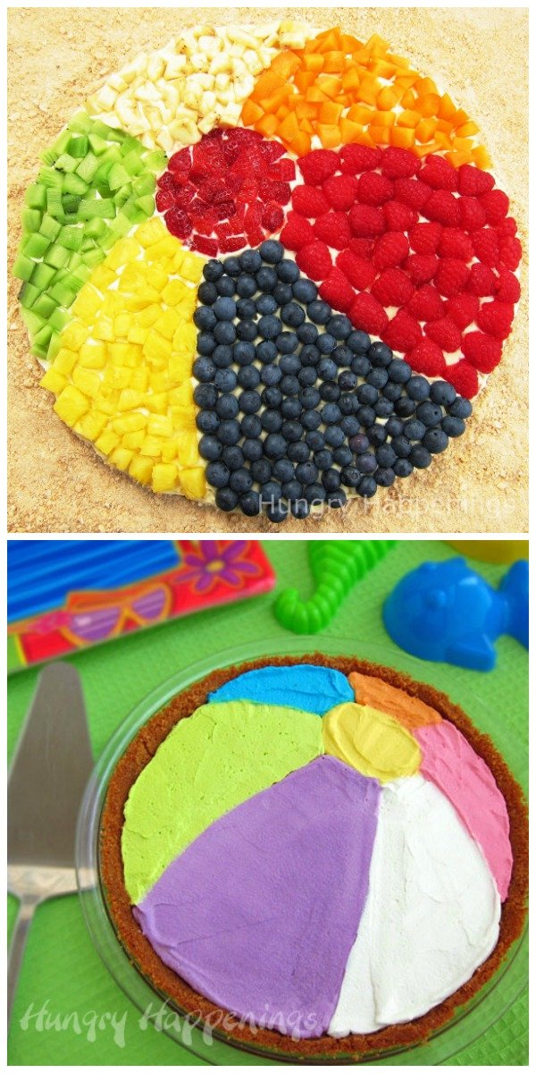 Summer fun desserts - Fruit Pizza Beach Ball and No-bake Cheesecake Beach Ball