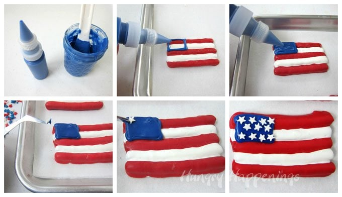 How to add candy star sprinkles to a Red, White and Blue American Pretzel Flag.