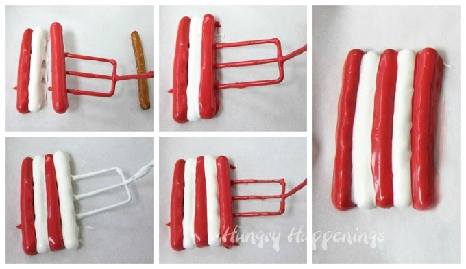 Dip pretzels in red and white candy melts to make the stripes in Red, White, and Blue American Flag pretzels.