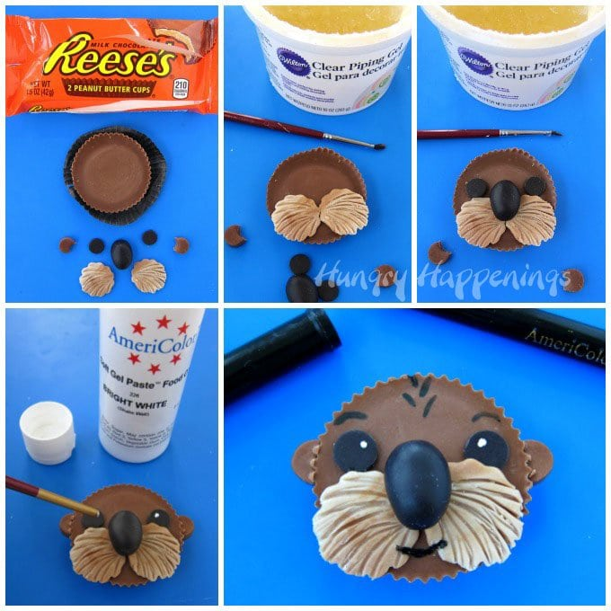 Use clear piping gel to attach the Sea Otter's eye, nose, whiskers, and ears to the Reese's Cup then paint on white food coloring highlights in each eye.