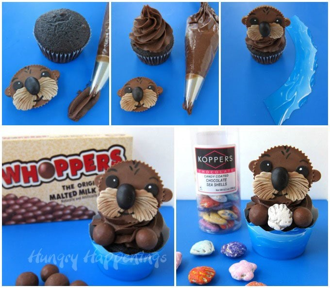 Pipe a big swirl of chocolate frosting over a chocolate cupcake then attach a Reese's Cup Sea Otter and a candy shell.