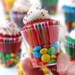 Mini Cupcakes in Candy Filled Shot Glasses are the perfect sized treats to serve at a kid's birthday party.