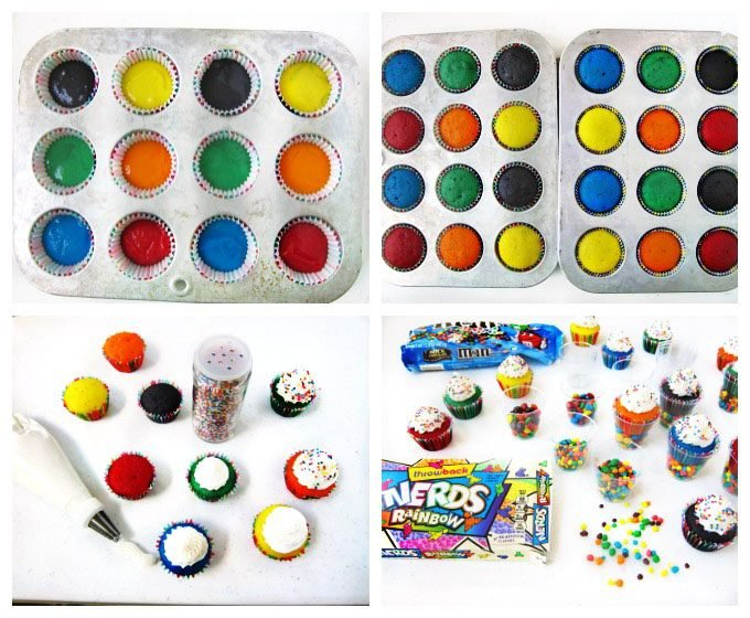 Bake mini rainbow colored cupcakes, add a swirl of white frosting and some rainbow non-pareils then serve them in small plastic cups filled with candy.These treats are great for kid's birthday parties.
