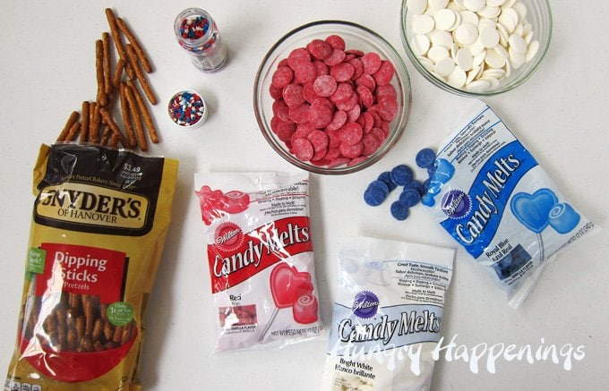 Ingredients for red, white and blue pretzel flags.