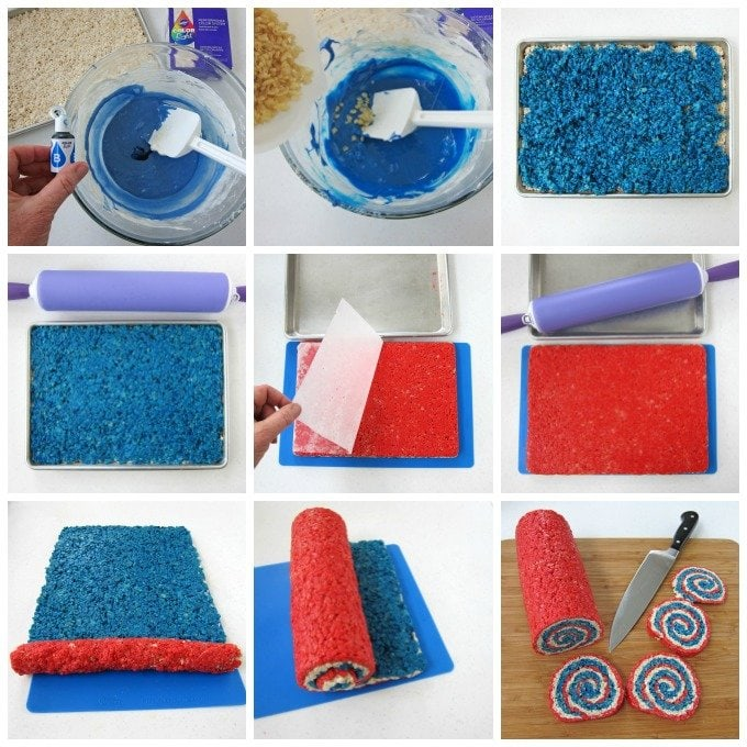 How to make red, white and blue rice crispy treats.