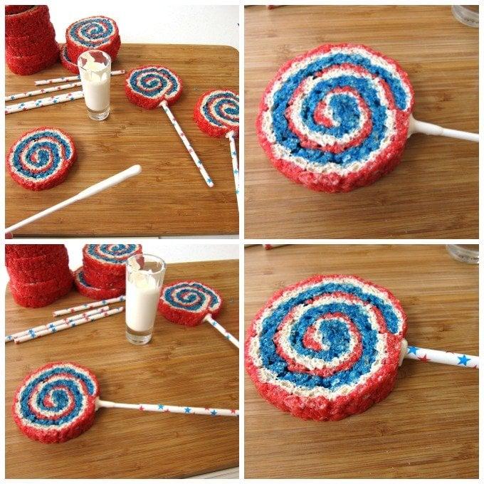 Red, White and Blue Rice Krispie Treat Pinwheel Lollipops
