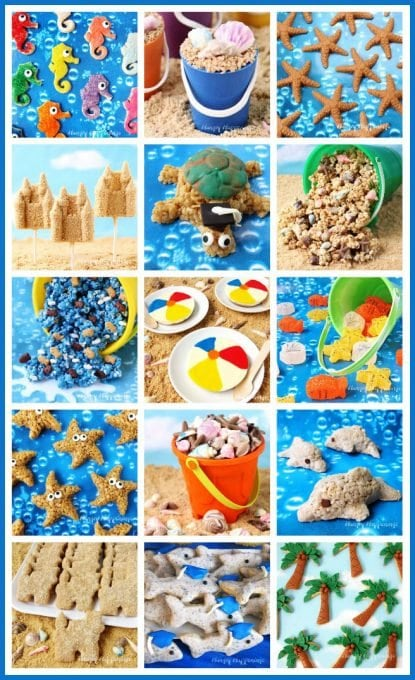 Make a big splash at your party by serving these amazing Beach Themed Party Treats. See the recipes at HungryHappenings.com,