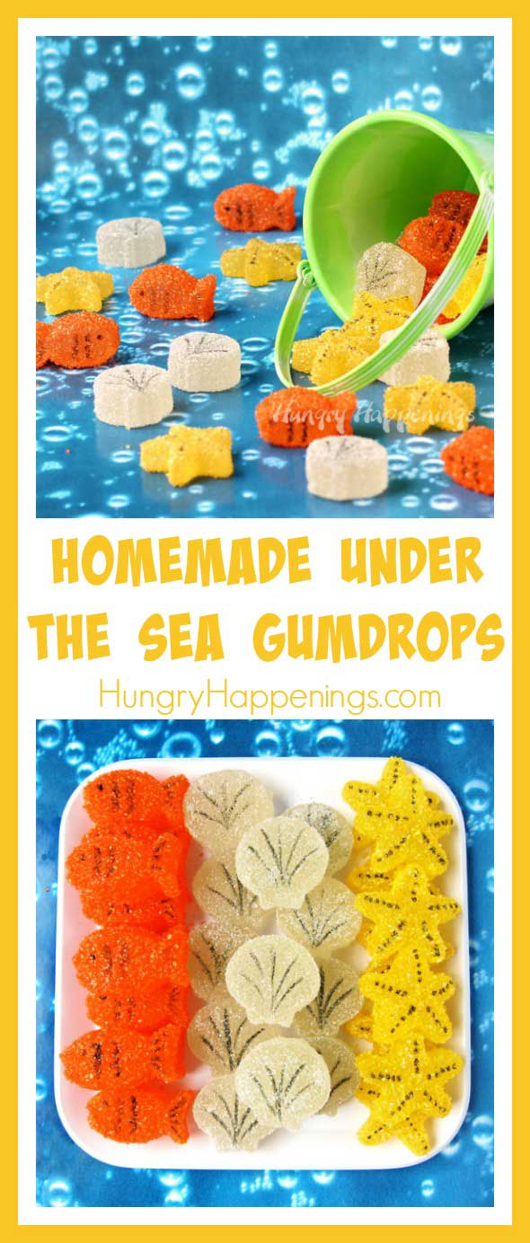 Make gumdrops using a sea life silicone mold. These Homemade Under the Sea Gumdrops are shaped like Goldfish, Starfish, and Sea Shells and are fun treats for your beach themed party.