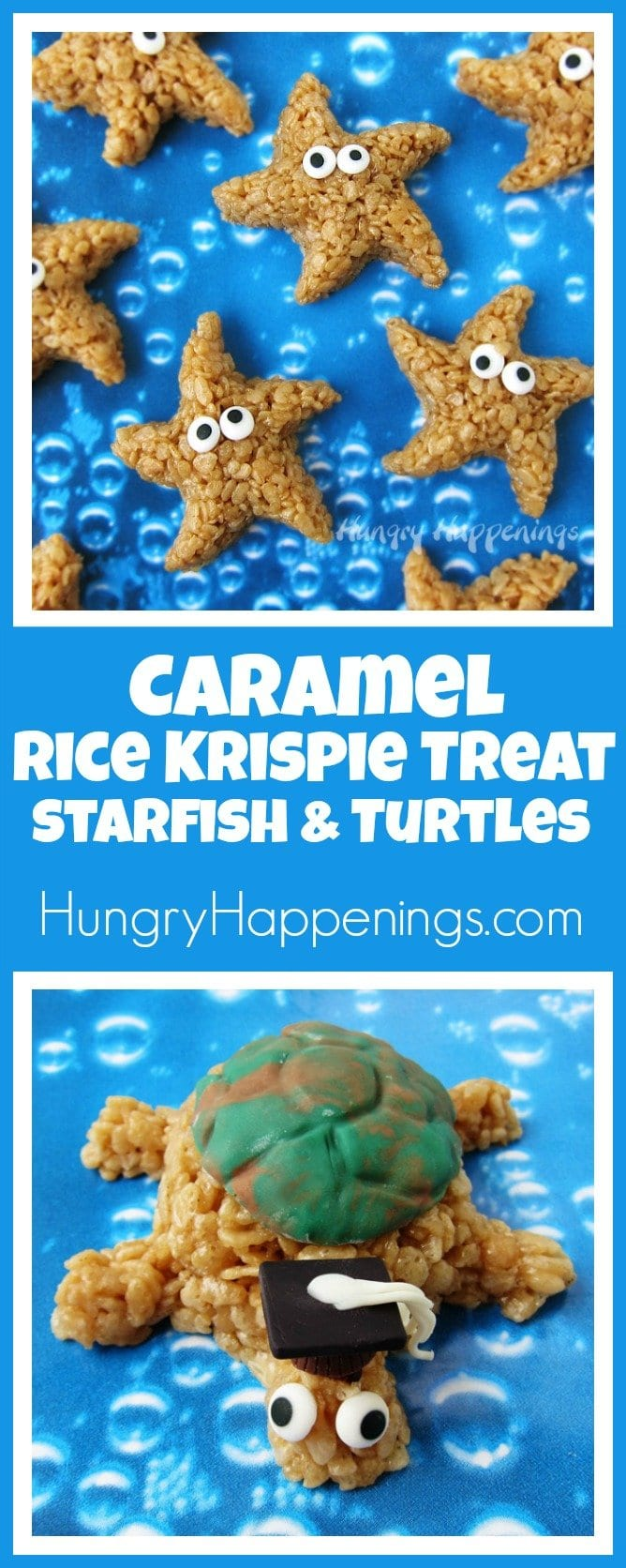 Take your cereal treats to a whole new level. Instead of marshmallows, coat the crisp rice cereal in caramel, then mold them into adorable Caramel Rice Krispie Treat Starfish and Turtles.