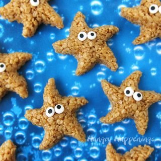 Caramel Rice Krispie Treat Starfish make perfect treats for your oceanfront event or pool party.