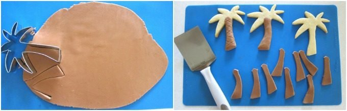 Make brown modeling chocolate and use it to decorate the trunks of palm tree cookies.