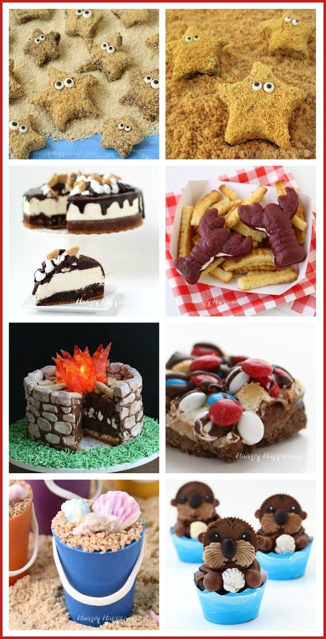 "Fun S'mores Recipes ideas for summer. Make a splash by serving Starfish S""mores or Red Velvet Whoopie Pie Lobsters at your pool party. See all the recipes at HungryHappenings.com."