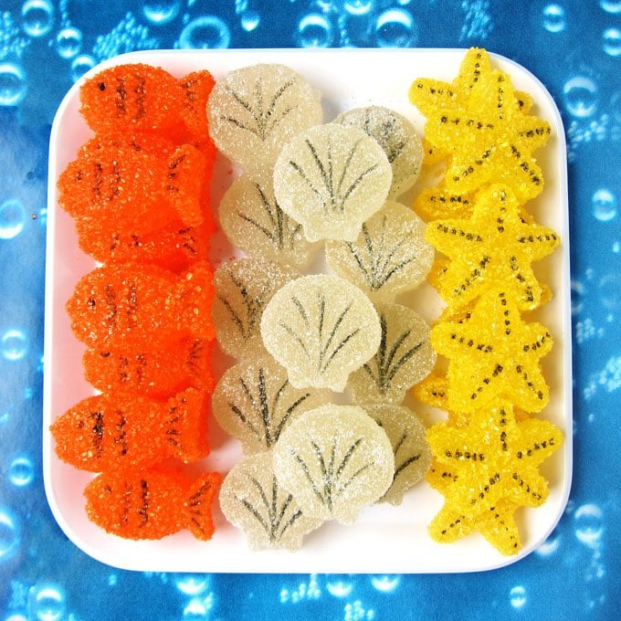 Make homemade gumdrops into sweet little sea creatures. These Homemade Under the Sea Gumdrops can be made into Goldfish, Starfish, and Sea Shells.