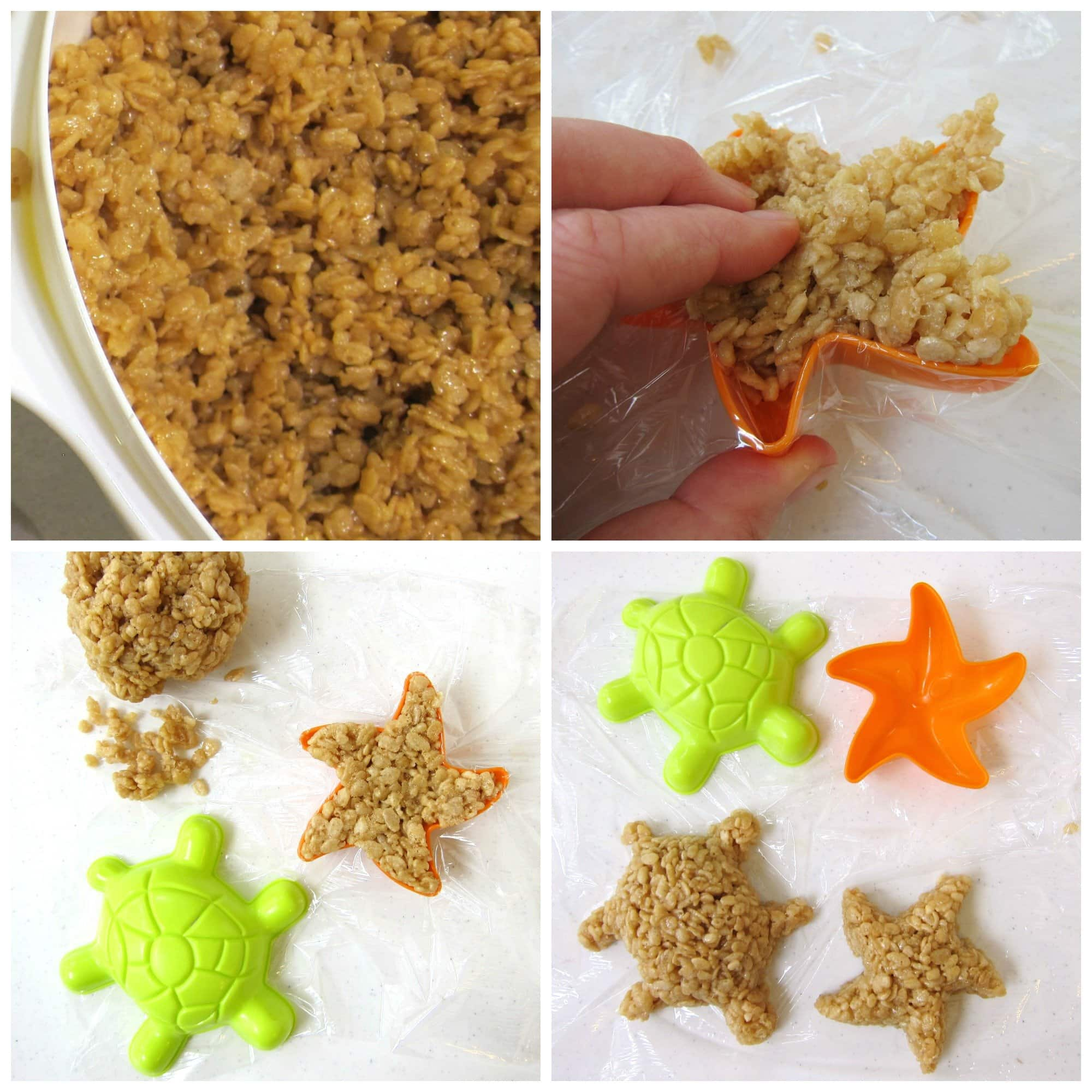 How to make caramel rice krispie treats using plastic sand molds in the shape of turtles and starfish.
