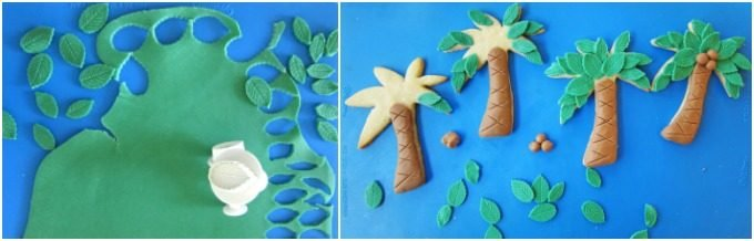 Use green modeling chocolate to create leaves to attach to the tops of palm tree cookies then add some brown modeling chocolate coconuts and trunks.
