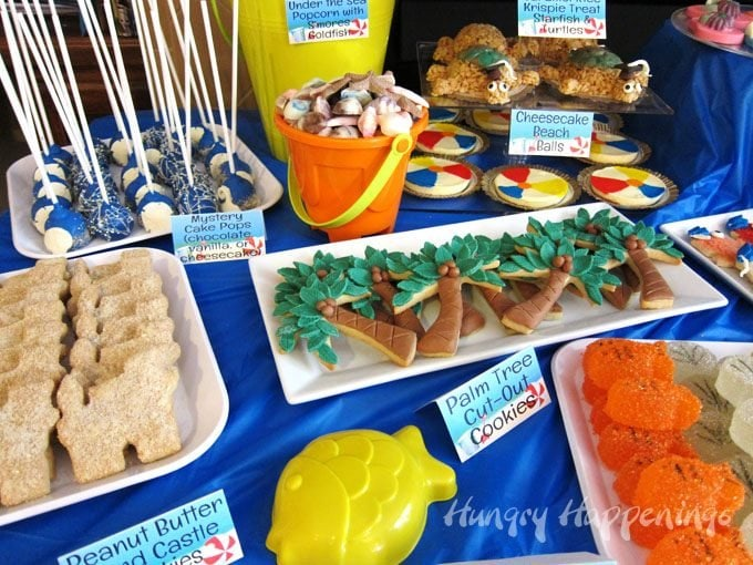 Decorate palm tree cookies to serve at your summer beach themed party or pool party. See how at HungryHappenings.com.