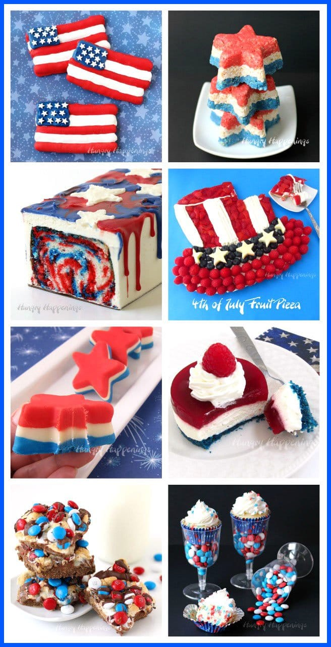 Make festive Red, White and Blue Food for your 4th of July, Memorial Day, Labor Day, or Veteran's Day parties. See the recipes and tutorials at HungryHappenings.com.