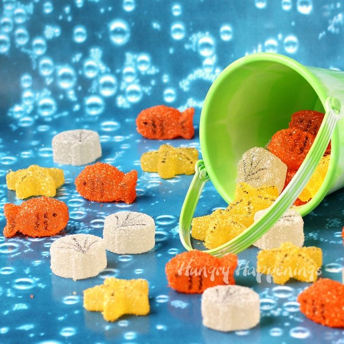 Make homemade gumdrops into sweet little sea creatures. These Under the Sea Gumdrops can be made into Goldfish, Starfish, and Sea Shells.