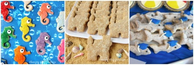 Make some simple cookies to serve at your beach party. These seahorse, sand castle, and shark cookies are so easy to decorate.