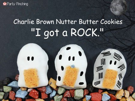"Charlie Brown Nutter Butter Ghosts. ""I got a rock"" treats are perfect for your It's the Great Pumpkin Charlie Brown Party."