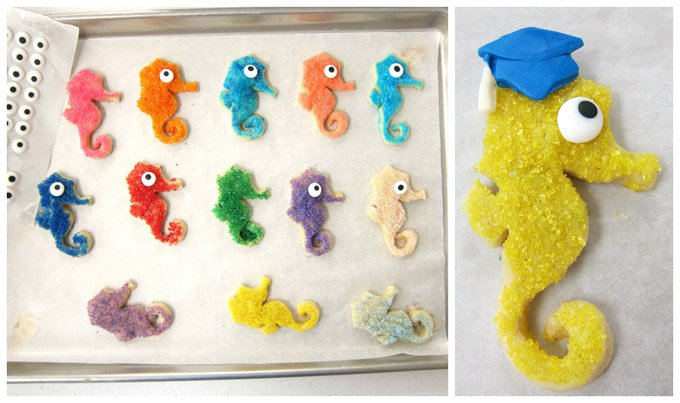 Sugar coated seahorse cookies look super cute topped with graduation caps for your beach themed graduation party.