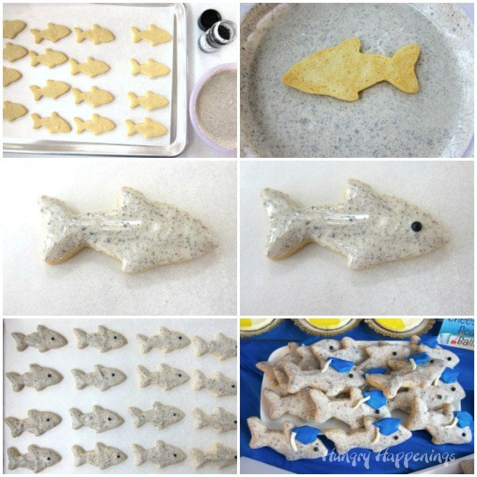 Dip shark shaped cookies in cookies 'n cream candy to give them a shiny grey skin. See how at HungryHappenings.com.