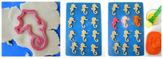 Decorate Seahorse cut out cookies using brightly colored sanding sugar.