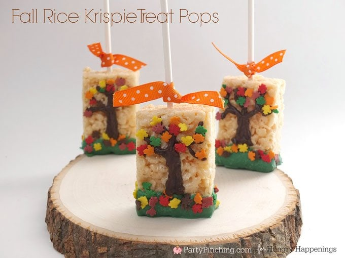 Kids are going to love snacking on these festive Fall Rice Krispie Treats after Thanksgiving dinner or during your pumpkin carving party.