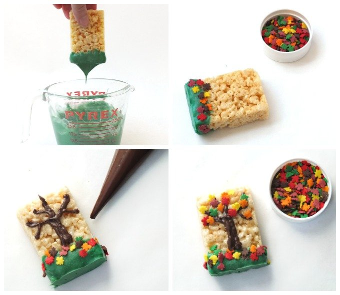Turn store-bought cereal treats into Fall Tree Rice Krispie Treats using candy melts and Autumn leaf sprinkles. Easy kid's treats, fall desserts, fall snacks, Thanksgiving treats.
