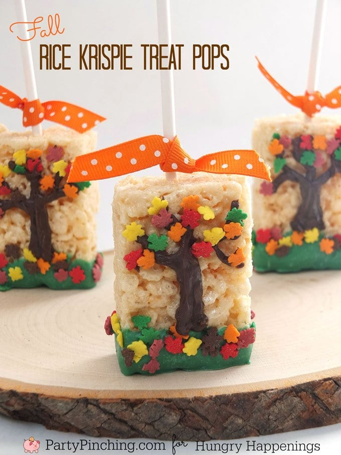 It's easy to turn a store bought cereal treat into these festive Fall Tree Rice Krispie Treat Pops. These fun kid's treats are to please your friends and family at Thanksgiving dinner or on that chilly hayride or pumpkin carving party.