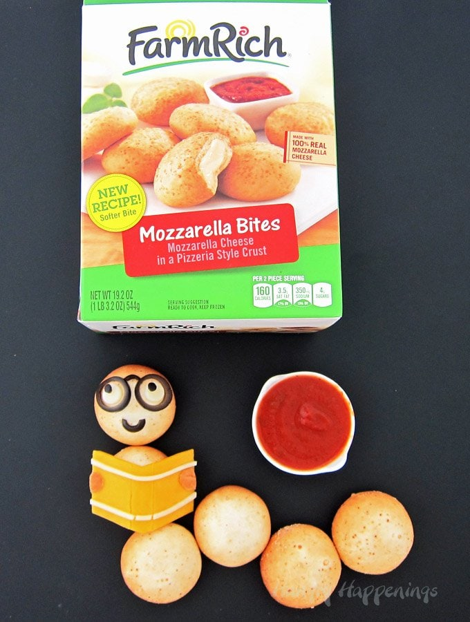 Use Farm Rich Mozzarella Bites to make cute Bookworms for your kids. This is a cute back to school treats.